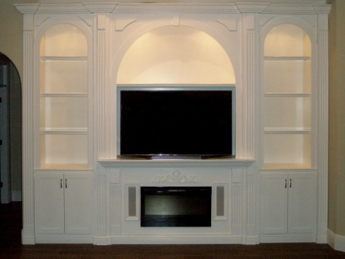 White Wall Unit wood entertainment wall units